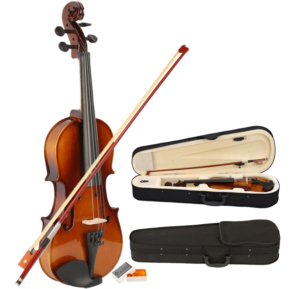 hot sale 1 2 size natural acoustic violin fiddle case bow rosin for beginner. Black Bedroom Furniture Sets. Home Design Ideas