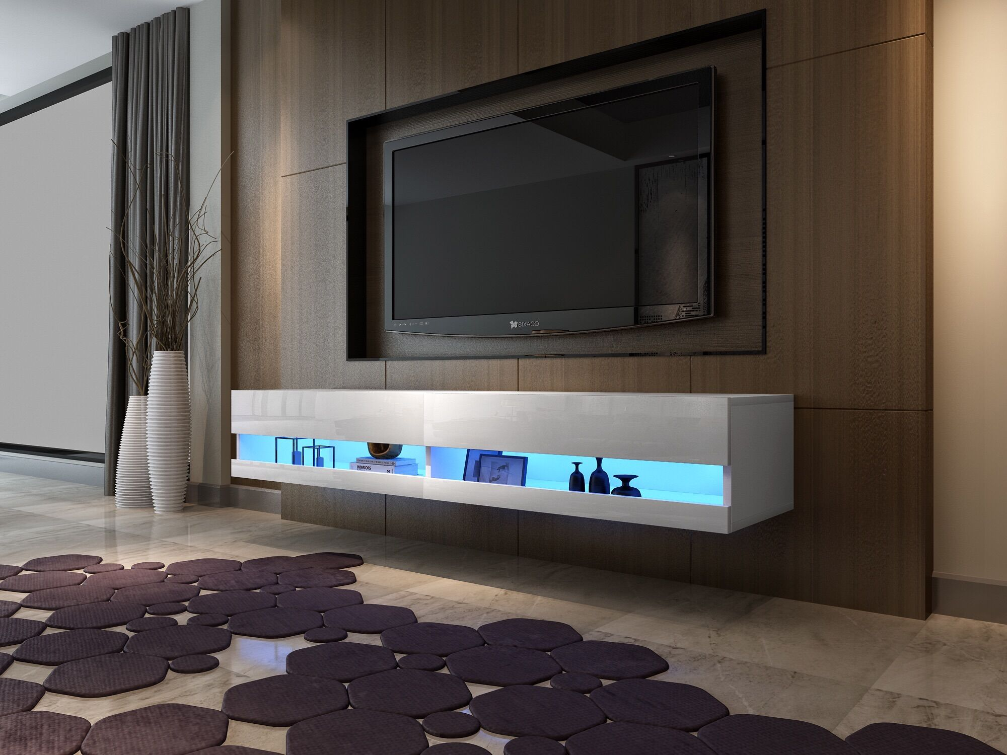 Tv Stand Cabinet 180cm High Gloss Led Lights Floating Wall